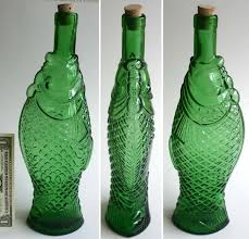 vintage fish bottle antinori wine italy decor old green glass 1965