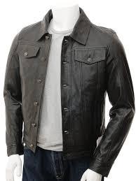 mens black leather trucker jacket foggia front