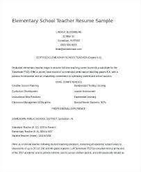 Teaching Resume Template Elementary Teacher Resume Examples Sample