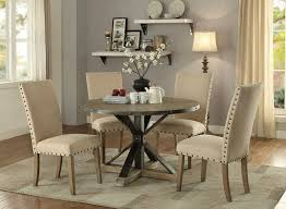 107100 5 pc tobin collection driftwood grey wood round dining table set with trestle base