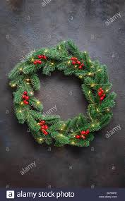 Christmas Branches With Lights Christmas Wreath Made Of Tree Fir Branches With Lights And