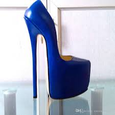 customized blue patent leather pump extreme high heel 22cm heel with platform women pump y high heels y pump single shoes show shoes for men
