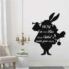 Quotes From Alice In Wonderland Mesmerizing Cartoon Alice In Wonderland Rabbit In How Do You Run Quotes Wall