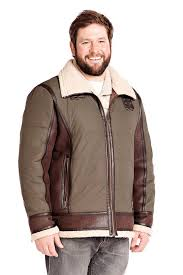 men s olive faux leather sherpa coat