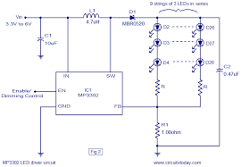 led driver based on mp3302 led driver ic working circuit diagram mp3302 led driver ic circuit