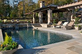 pool patio decorating ideas. Good Looking Litehouse Pools Look Atlanta Rustic Pool Decorating Ideas With Cabana Chaise Longue Lounge Container Plants Decorative Garden Urns Patio N