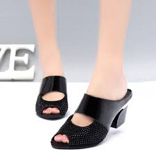 2019 fashion women summer patent leather sandals y p toe cut out high heels flip flops