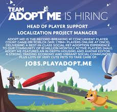 Subscribe to the official adopt me youtube! Adopt Me On Twitter We Re Hiring Remote Us Or Uk Head Of Player Support Localization Project Manager Join The Team Behind The 1 Roblox Game And Work Your Own