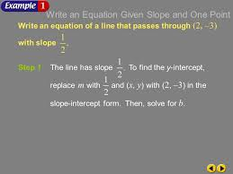 write an equation given slope and one point