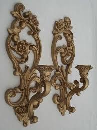 ornate gold wall sconces vintage homco