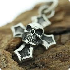 sterling silver pendant skull cross