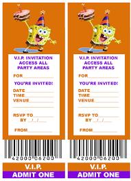 spongebob squarepants birthday invitation templates spongebob printable birthday party invitation at spongebob coloring pages vip ticket party invitation spongebob squarepants