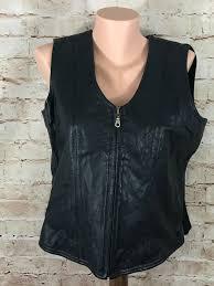 womens black leather vest cotton back full zip