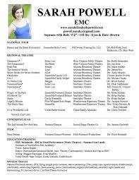 Sample Musical Theatre Resume Sarahepps Com