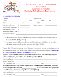 sponsorship agreement fausports com celebrity golf and fishing tournament sponsorship