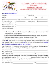 sponsorship agreement fausports com celebrity golf and fishing tournament sponsorship