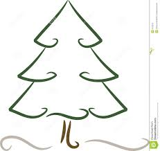 Simple Christmas Tree In Winter Stock Vector Illustration Of