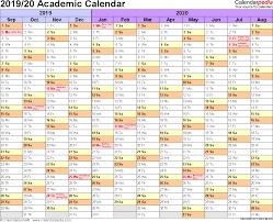Academic Calendars 2019 2020 Free Printable Word Templates