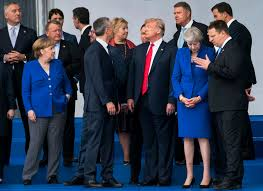 president joined other leaders for a family photo on wednesday as the nato summit meeting began in brussels credit doug mills the new york times
