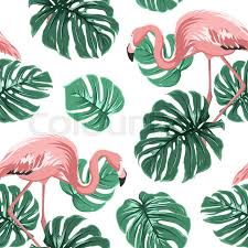 Flamingo Pattern Beauteous Pink Flamingo Birds And Turquoise Green Monstera Leaves Exotic
