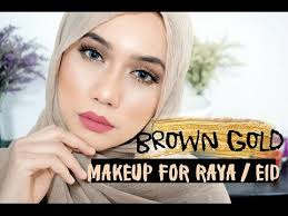 wajah bulat brown gold makeup for raya eid cara