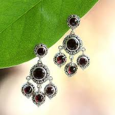 garnet chandelier earrings blessing sterling silver and garnet chandelier earrings