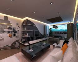 Bedroom  Adorable Calm Wall Paint And Cool Game Item Facing Couch Cool Gaming Room Designs
