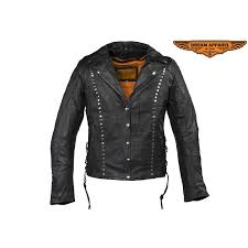 womens studded leather motorcycle jacket with concealed carry pockets