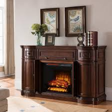 media console electric fireplace tv stand in walnut