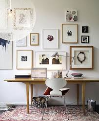 home office small gallery home. Beautiful Gallery Wall In This Home Office Space. The Natural Wood Frames On Most Of Pieces Make Display Look Cohesive And Coordinate Perfectly With Small M