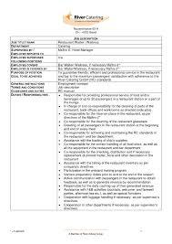 Bartender Description For Resume Luxury Waitress Job Description