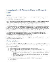 Instructions For Self-Assessment Form For Microsoft Excel Purpose