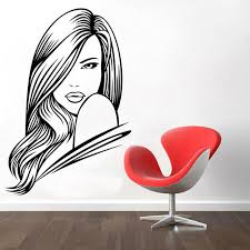Small Picture Hair Beauty Salon Decal Vinyl Sticker Woman Long Lashes Art Home