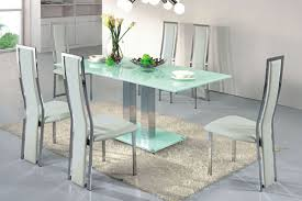 Contemporary Dining Table With Glass Top And Bas With Rectangular
