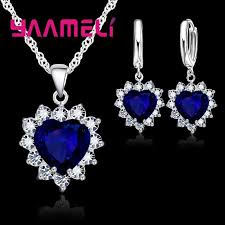 Trendy <b>925 Sterling Silver</b> Jewelry Set For Women Heart CZ Stone ...