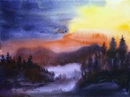 saatchi art artist samiran sarkar painting sunset mountain forest landscape art