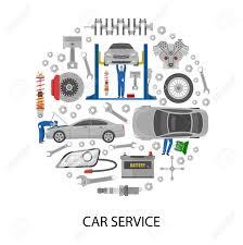 Automotive Design Tools Auto Service Round Design With Cars Mechanics Work Tools Machine