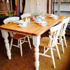 Painted Kitchen Table Farmhouse Pine Table And Four Chairs Painted In Annie Sloan