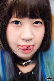 Harajuku Girl W Piercings In Black Brain Oversized Sweatshirt