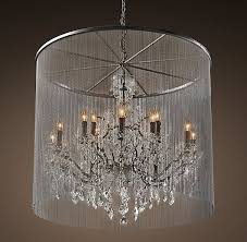 restoration hardware s vaille crystal chandelier shimmering veil of ball chain adds an industrial touch to the victorian design of our ont crystal glass
