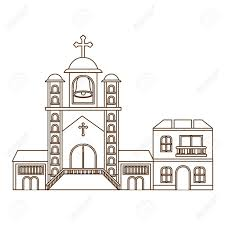 Front Church Design Church With Front View In Landscape Vector Illustration Design