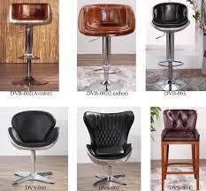 aluminum back adjustable real leather industrial bar stool