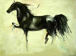 factory directly supply abstract horse oil painting on canvas beautiful wall abstract black horse painting decor