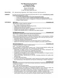 Manufacturing Engineer Resume Pdf Cv Example Summary Professional