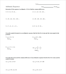 Arithmetic Sequence Worksheet Answers Sequencing Worksheets Grade Story 6th Math
