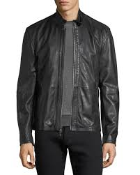 john varvatos star usa leather racer jacket w buckle tab