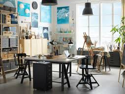 ikea office space. Industrial Style Grey And White Artists Atelier With Two Desks Back-to-back. Ikea Office Space I
