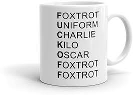 Your browser doesn't support html5 audio. Amazon Com Phonetic Alphabet Rude Novelty Ceramic Mug White 11 Oz Coffee Cups Mugs