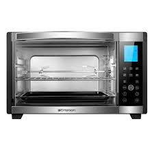 6 slice black and stainless convection and rotisserie counter top toaster oven with digital control panel