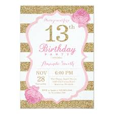 13th Party Invitations Pink And Gold 13th Birthday Invitation Floral
